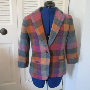 Cabi sz 4 Plaid Wool Blend Blazer 3/4 sleeve
